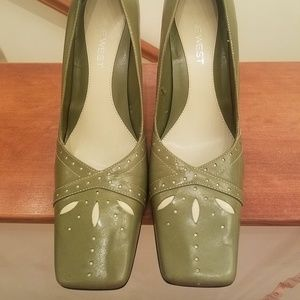 Apple Green with Beige cutouts Square Toe